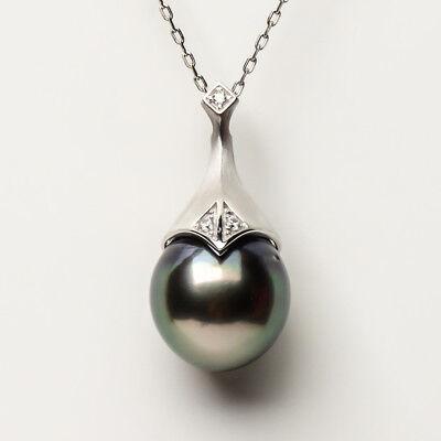 10.8mm perfect round white south sea pearl pendant 14K white gold AU585