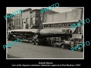 OLD POSTCARD SIZE PHOTO DEKALB ILLINOIS, THE JAPANESE WWII MINI SUBMARINE c1945