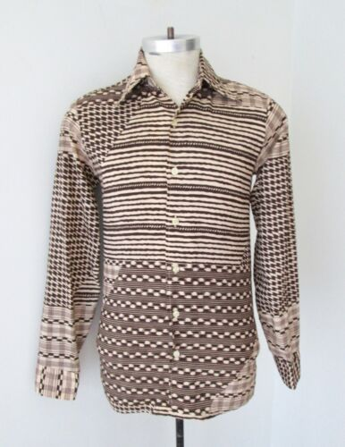 VGC Vtg 70s Joe Namath Brown Geometric Patchwork Print Silky Disco Pimp Shirt S