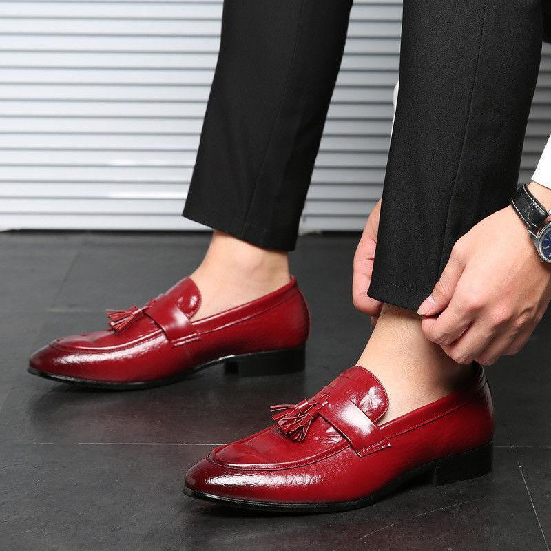 Fashion Men's Oxford Leather Tassels Flat Dress Formal Business Casual shoes