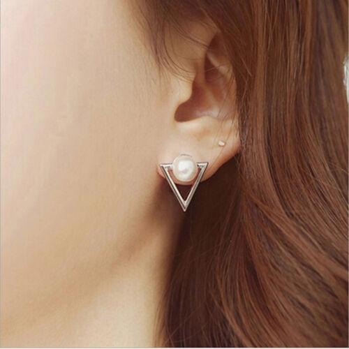 Women Earrings Faux Pearl Triangle Dangle Drop Ear Stud Earrings Fashion Jewelry