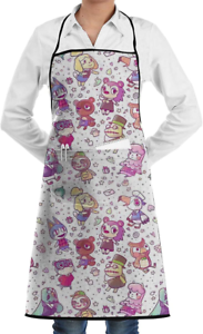 Luciy Animal Crossing Pattern Cooking Apron with Pocket for Men Women