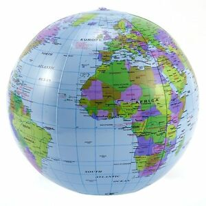 Inflatable Globe World Map. Image is loading Inflatable Globe 40cm Atlas World Map Earth Beach  Ball Geography