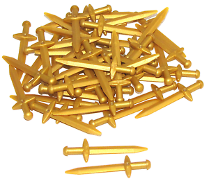 LEGO LOT OF 10 NEW PEARL GOLD SWORDS POINTED GREATSWORD CASTLE KNIGHT WEAPONS