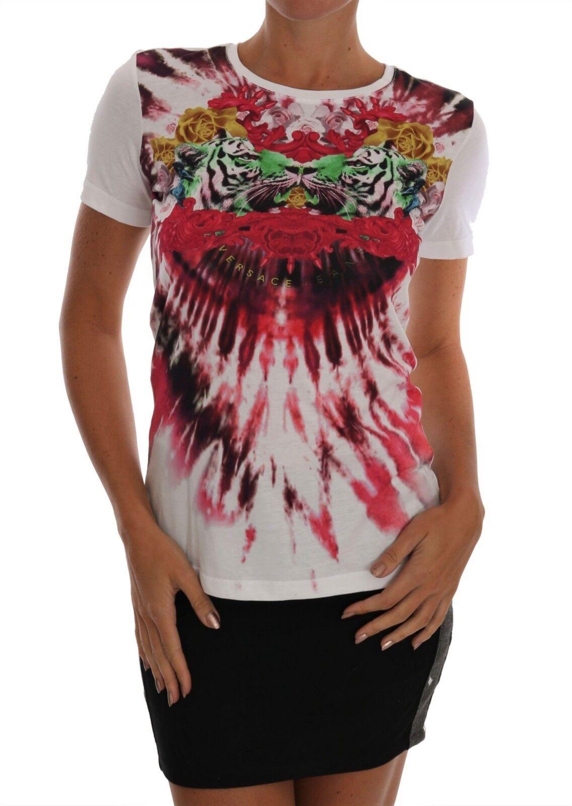 NEW  VERSACE JEANS VJ T-Shirt Blouse Top Weiß Cotton Motive Print s. L