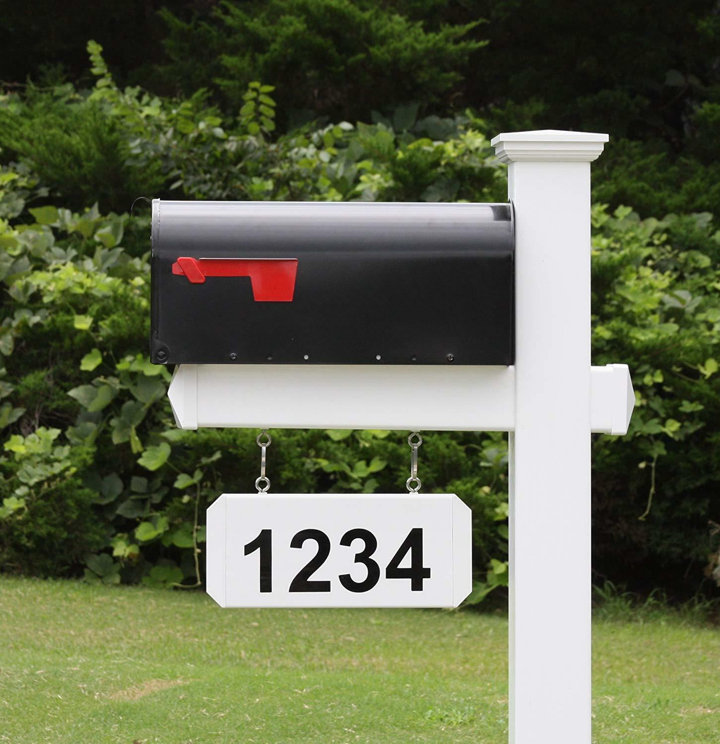 The Harrison Mailbox and Post with Hanging Address Plate Included