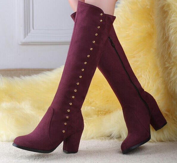 Botines botas muslo mujer talón 8 cm como piel rojo burdeos caldi 9115