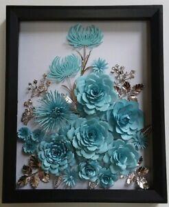 Roses Mum Blue Silver Paper Flower Arrangement Handmade 3 D Wall Art Home Decor Ebay