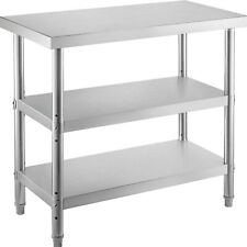 24x14 Commercial Stainless Steel Work Table Bbq Food Prep Table With 2 Shelves