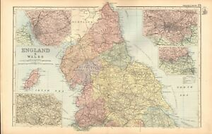 Map Of England Liverpool.1893 Antique Map England And Wales North Isle Of Man Liverpool