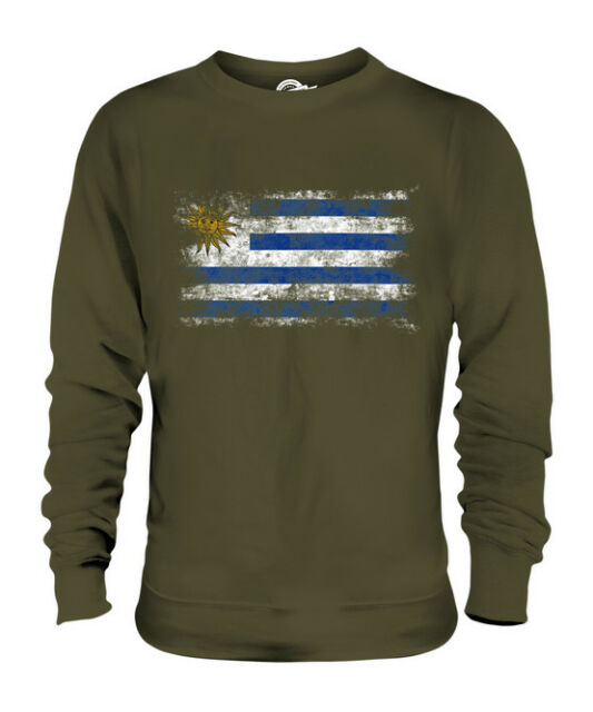 Uruguay Faded Distressed Flag Uruguayan Country Pride Hoodie Pullover