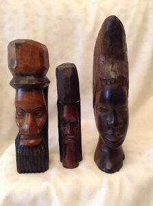 """3 Vintage Carved Wood Head Face Busts PAINTED WOMAN MAN 9.5"""" HEAVY"""