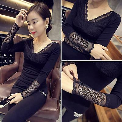 Fashion Women Sexy Lace V Neck Slim Stretch Fittted Club Thick Shirt Tops Blouse