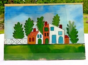 Reverse-Glass-Painting-Primitive-Original-Folk-Art-Hand-Painted-Country-Scene