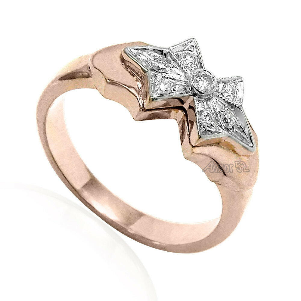 Russian Jewelry 14k Solid pink and White gold Genuine G-SI1 Diamond Ring