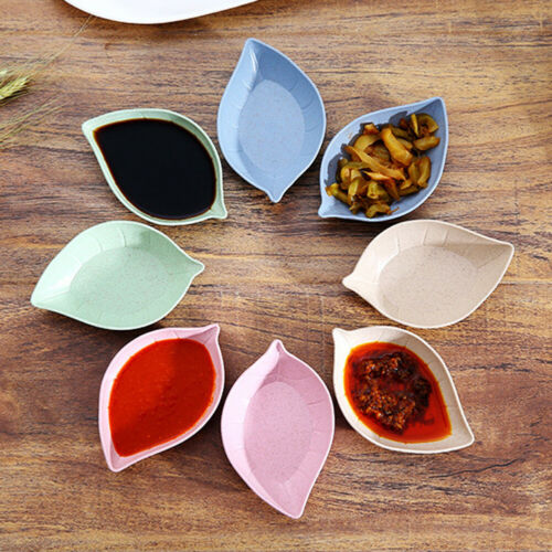 CO/_ 4Pcs Leaf Shape Vinegar Sauce Dish Plates Bowls Seasoning Saucers Tableware