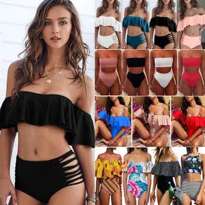 2019-Women-039-s-strapless-Bandeau-Bathing-Swimsuit-High-Waisted-Swimwear-Bikini-Set
