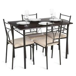 5 piece dining set wood metal table 4 chairs kitchen for 4 piece kitchen table set