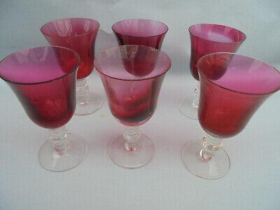 31420 6x Weinglas Wine Glass Rot Schwer Mundgeblasen Mouthblow 1900 13cm