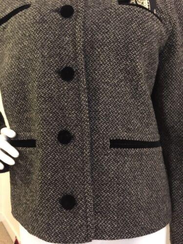 40 Coat Taille Mondi De Tweed Mélange Jacket Blazer Court Vtg Laine Gris OOqxzaTR