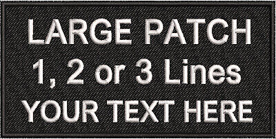 BLACK CLOTH 1 LINE PERSONALISED NAME PATCHES TAG BIKER PATCH HOOK /& LOOP