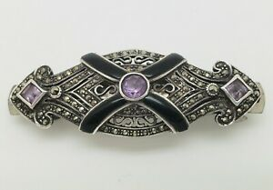 Beautiful-Vintage-Sterling-Silver-Amethyst-Black-Onyx-And-Marcasite-Barrette