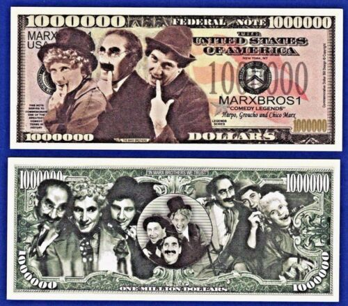 Z1 5-Marx Brothers Dollar Bills-Groucho Chico Harpo Funny Actor Novelty