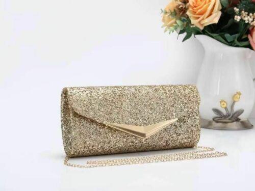 Women/'s Glitter Shimmery Handbag Party Evening Clutch Wedding Prom Purse Chain