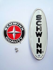 Genuine-Schwinn-Approved-Bicycle-Head-Badge-Name-Plate-WHITE-w-BLACK-LETTERS
