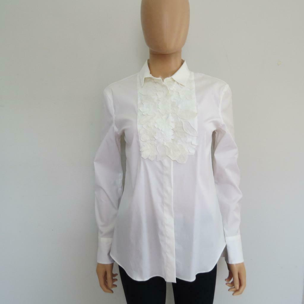 Brunello Cucinelli White Long Sleeve Blouse Shirt w  Floral Applique Detail M