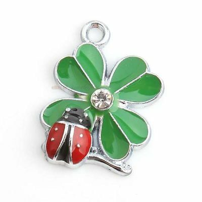 20x Retail Enamel Colorful Beetle & Clover Charms Alloy Necklace Pendants Lots J