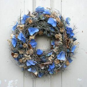 Tuerkranz-Hortensien-blau-Dekokranz-Wandkranz-Kranz-Seidenblumen-Handarbeit-30-cm