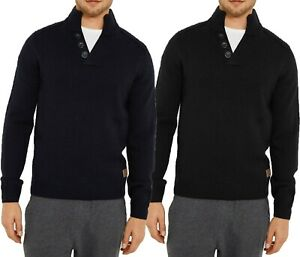 Herren-abgezehrte-Shawl-Neck-Pullover-Wollmischung-Dick-Grobstrick
