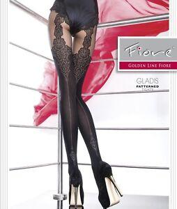 Collant Femme motif fantaisie Fiore 40Den semi opaque Noir
