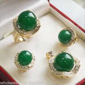 10mm-amp-14mm-Natural-Emerald-Jade-Gemstone-Earrings-Ring-Necklace-Pendant-Set