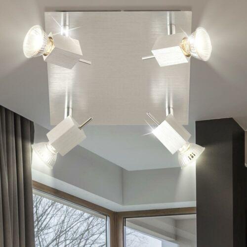 Design Decken Lampe Schlaf Zimmer ALU Lampe Beleuchtung silber Spot verstellbar