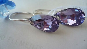 SOLID-STERLING-SILVER-EARRINGS-WITH-GENUINE-SWAROVSKI-CRYSTAL-ALMOND-VIOLET-AB