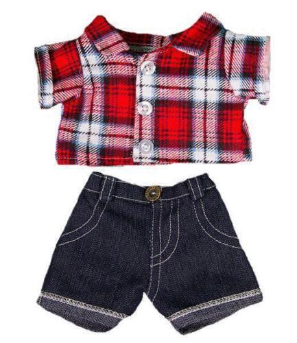 20.3cm rot kariertes Hemd & Jeans Teddybär Kleidung für 20.3cm-25.4cm/20cm