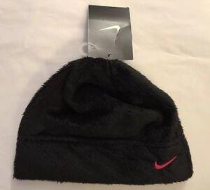 5c23a90c48a NWT Nike Youth Girl s Fleece Winter Beanie Hat Size 4-6 Black Fuzzy ...