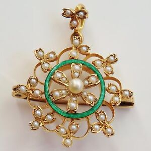 Fine Antique Edwardian 15ct Gold amp Green Enamel Pearl set Pendant Brooch c1905 - <span itemprop=availableAtOrFrom>Hamilton, United Kingdom</span> - Returns will only be given if item is returned in the same condition as sent. We will accept returns on items purchased as 'Fixed Price' or 'Buy it Now' items. We do NOT accept r - Hamilton, United Kingdom