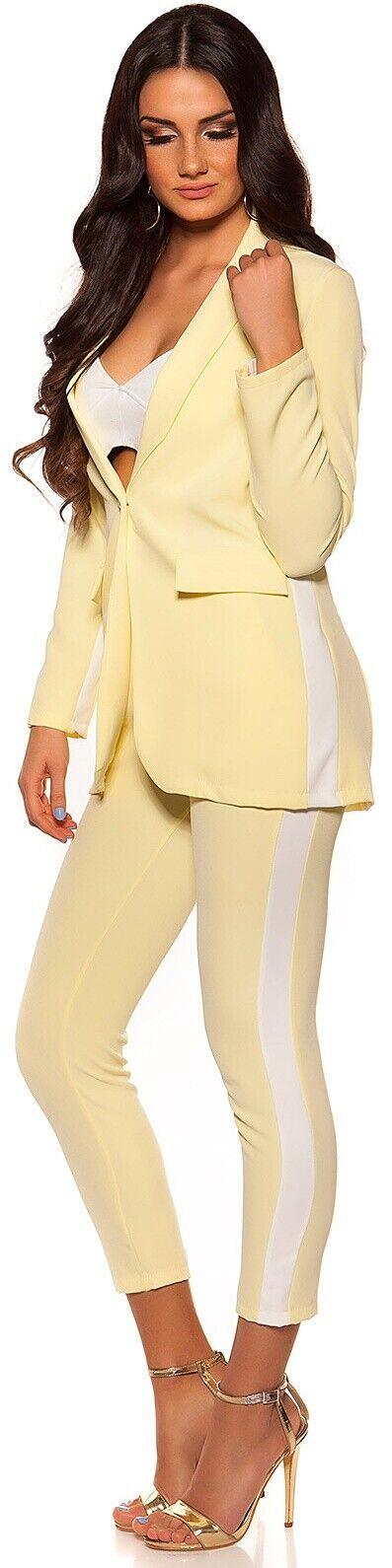NEU 34 - - - 36 ♡ sommerleichter Blazer weißer Kontrast-Streifen  ♡ Gelb XS-S   Ausgewählte Materialien    Verschiedene Waren    Lebensecht    Online Store    New Style  3dd6e0