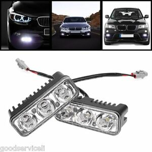 2-High-Power-9W-White-Aluminum-3-LED-DRL-Daytime-Running-Light-100-Waterproof