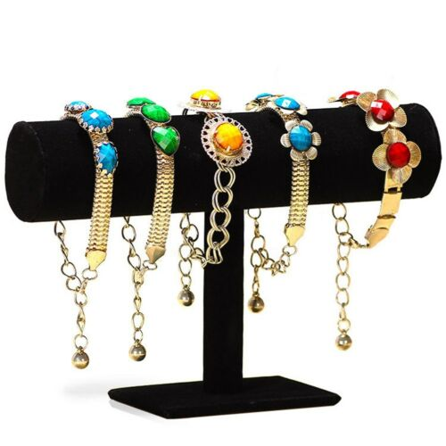 Velvet T-Bar Jewelry Rack Bracelet Necklace Stand Organizer Holder Display Black