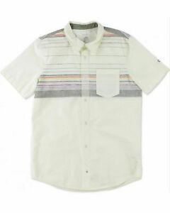O'NEILL Men's Ivory Sundown Casual Printed Short Sleeve Button Front Woven Shirt