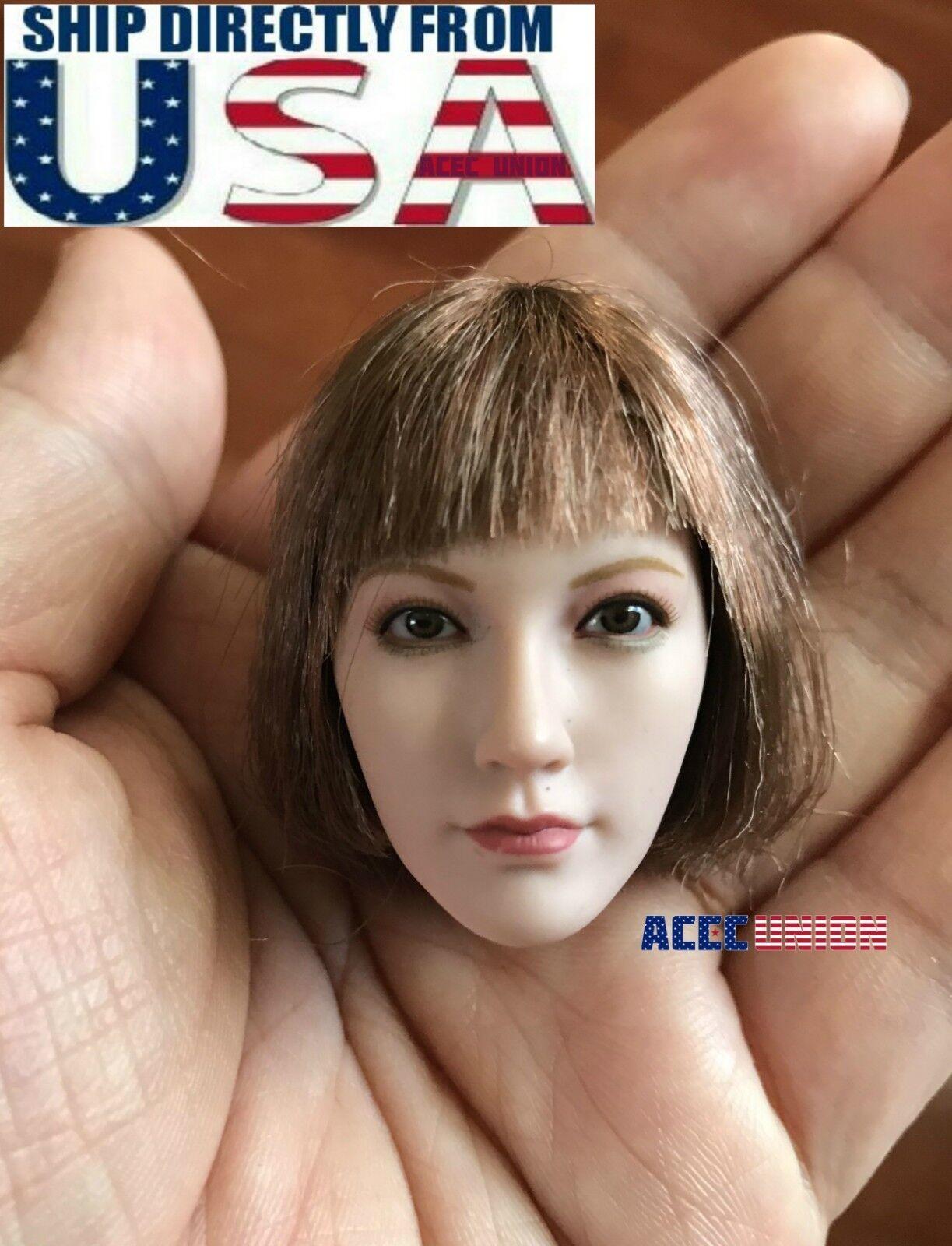 1 6 Female Head Sculpt SHORT HAIR For 12  PHICEN Pale Hot Toys Figure U.S.A.