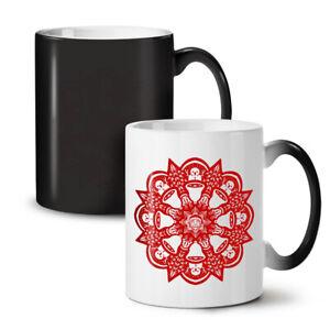 Red Mandala Art NEW Colour Changing Tea Coffee Mug 11 oz | Wellcoda