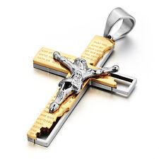 MENDINO Men's Stainless Steel Pendant Necklace Jesus Bible Prayer Cross Gold
