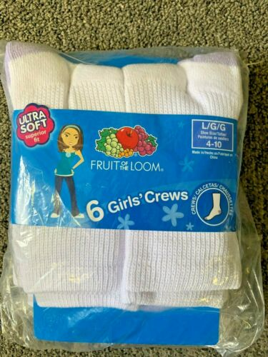 Fruit of the Loom 6 pack Girls/' Crews Socks Size L 4-10 Ultra Soft Perfect Fit