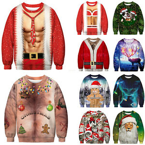 Men S Christmas Ugly Sweatshirt Casual Sweater Holiday Pullover Xmas