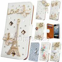 3D CRYSTAL BLING DIAMOND LEATHER  WALLET CASE FLIP COVER FOR APPLE iPHONES